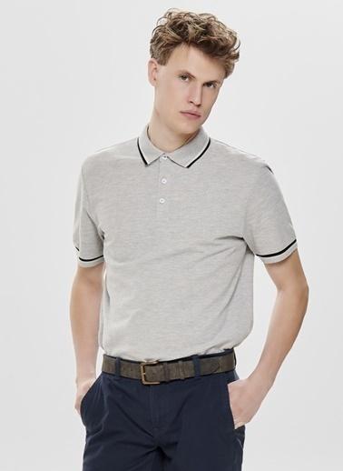 Only & Sons Only & Sons Polo Yaka Açık Gri T-Shirt Gri